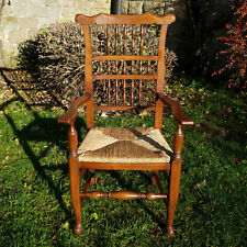 Lancashire Oak & Rush Seat Spindle Back Country Carver Armchair - 8 Available
