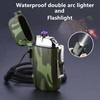 USB charging Windproof Double Arc Lighter Waterproof lighter Flashlight lighter