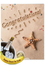 J6113CCGG Jumbo Congratulations Card ft. Sandy Scenes of the Summer by the Beach