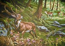 "Stag And Deer Tapestry Canvas Collection D'Art  (27.75"" x 23.5"")"