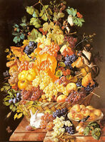 Oil painting leopold zinnogger - a basket of fruit grapes with animals monkey