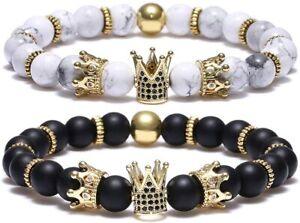 Charm Men Women Crown King Black Matte Onyx Natural Stone Beads Couple Jewelry