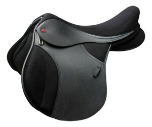 "NEW Thorowgood T4 GP General Purpose Pony Saddle Adjustable Gullet 15"" Black"