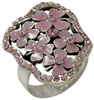NEW PILGRIM SILVER RING PINK CRYSTALS PASTEL ENAMEL FLOWERS ADJUSTABLE BAND SIZE