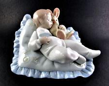 """DAISA 2000 LLADRO Baby Boy """"Taking A Snooze"""" 6791 Baby Sleeping & Bunny Figurine"""