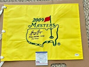 gary player signed 2009 masters flag w/ 61-74-78 w/final masters 2009 psa/dna