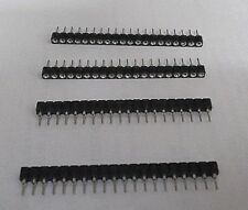 "Socket 20 Way Strip SIL Single In Line Female Turned Pin 2.54mm 0.1"" PCB x 4pcs"