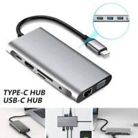 Adaptateur HDMI 10 en 1 multiport type C vers USB-C 4K Hub câble USB 3.0 Pr LB