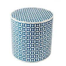 Indian Bone Inlay Drum Table, Blue