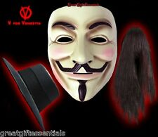 V FOR VENDETTA Costume MASK, WIG, DELUXE HAT SET Guy Fawkes Anonymous LICENSED