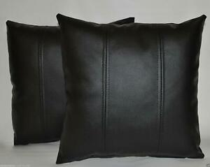 Home Decor Genuine Leather Cushion Black Designer Throw Pillow Cover