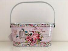Vintage Style Flower Pot Tin Metal Basket Plant Herb Planter Handled Gift Hamper
