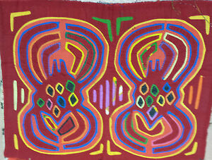 SOUTH AMERICAN HANDCRAFTED MOLA EMBROIDERY 1970'S 40CM X 30CM