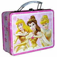 Tin Metal Lunch Snack Toy Box Embossed 3 Disney Princesses Enchanted NEW