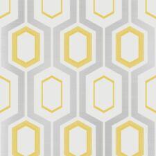 Blanc Argent Jaune Rétro papier peint à motifs géométriques Paillettes Métalliques Mortimer Fonction