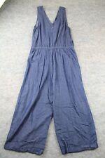 Old Navy Jumpsuit Size Medium M Denim Chambray Drawstring Romper Blue Overalls