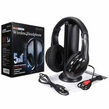 New 5 In 1 Wireless Cordless RF Headphones Headset with Mic for PC TV Radio US