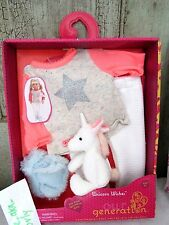 "Our Generation FLUFFY UNICORN WISHES Pajamas Pj's Clothes Set /toy 18"" Girl Doll"