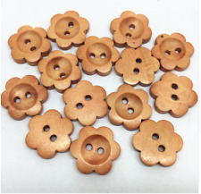 5 18mm Wooden Flower Buttons 2 Hole Flatback Sewing Craft UK SELLER Knitting