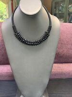 Vintage Bohemian Black Glass Crystal Choker Silk Wrapped Flex Wire Necklace