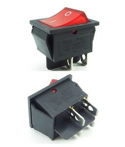 Mains Rocker Switch On Off DPST Red 16A 240v / 250V 10A operating x1