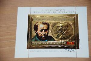 Nobel Winner Literature = Solzhenitcyn = Gold Foil Stamp = Souvenir sheet
