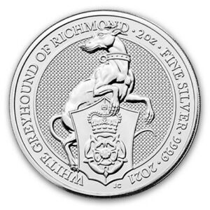 2021 Great Britain 2 oz Silver Queen's Beasts The White Greyhound of Richmond