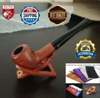 Wooden Handmade Smoking Pipe Straight Solid Red Wood Tobacco Pipes 9mm Filter