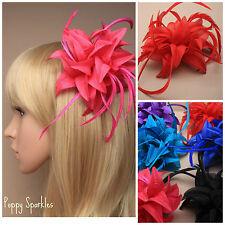 Flower Feather Facinators -Choice of Colours- Beak Clip- Wedding Prom Ascot