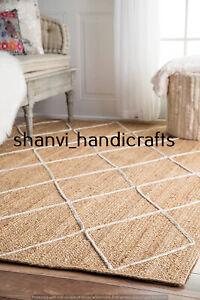 Handwoven Braided Rectangle 120x180 CM Beige & White Jute Rug Bohemian Floor Rug