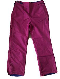 Vintage Columbia Blue Pink Reversible Ski Snow Pant Womens Large L Full Zip Side