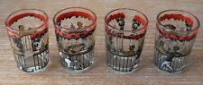 Set of 4 Hazel Atlas Gay-Bar 1890s old time saloon design drinking Glasses