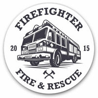 2 x Vinyl Stickers 7.5cm - Firefighter Fire & Rescue Truck Cool Gift #10761