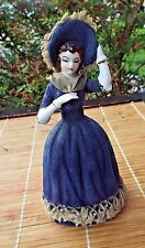 VTG 1930s Japan Porcelain Lady Figurine Flocked Dress dresden LACE blue belle