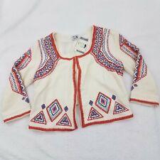 Lucky Brand Irving & Fine Jacket L Beaded Cropped Tribal Boho Orange White