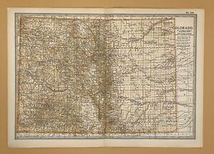 Original  Encyclopaedia Britannica Map of Colorado United States from 1903