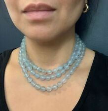 $350.00 High Fashion 3 Strand Chalcedony Statement Necklace