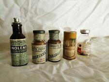 Pharmacie lot de 5 anciens flacons jamais ouverts, idéal musée ou cabinet de cur