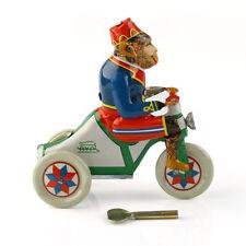 Vintage Wind Up Circus Monkey Ride a Car Clockwork w/ Key Tin Toy Xmas Gift