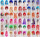 Pink Red Blue Purple Multi Colour Short Long Fancy Dress Halloween Party Wig