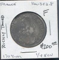 FRANCE - HISTORICAL LOUIS XIV SILVER 1/4 ECU, 1704 M (TOULOUSE MINT)