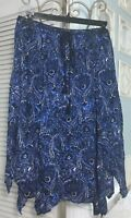 New ~ Plus Size 3X Blue Paisley Print Handkerchief Elastic Skirt