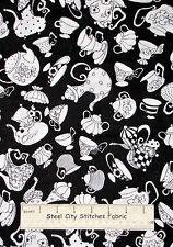 Loralie Harris Tea Pot Cup Fabric Ladies Tea Party Kitchen Saucer 930-B Black