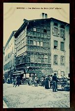 MACON FRANCE La Maison de Bois Street Market Vendors Postcard 1928 Ernest Protat