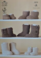 KNITTING PATTERN Childs/Adults Hug Boot Slippers DK King Cole 3275