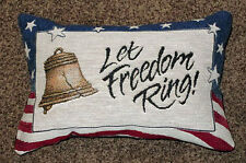 Stars & Stripes Patriotic Americana Tapestry Word Pillow ~ Let Freedom Anneau