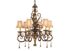 Helenic Patina 6 Light Chandelier With Shades