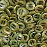 5 farbintensive grün gemaserte echte Steinnuss Knöpfe mit Schlitzen (1035gr)