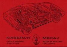 Maserati Merak Car Parts manual Catalogue Book paper