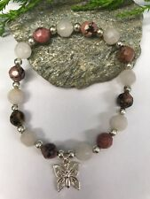Rose Quartz/Rhodonite Bracelet with Silver Plate Butterfly Charm Natural Pagan